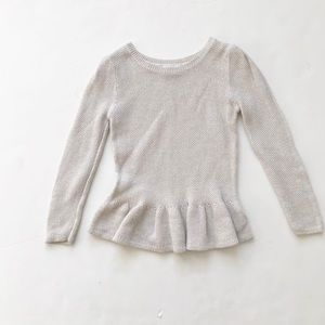 Old Navy off white/gold knit peplum top EUC 5T